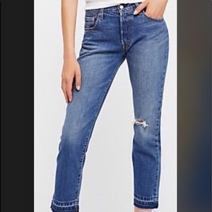 NWT Levi's 501 stretch distressed crop jeans